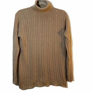 Pierre Cardin Women's tan cable knit turtleneck M